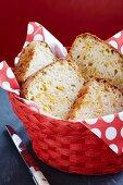 A basket of corn bread