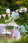 Table laid for party in garden
