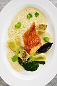 Scorpion fish sauce Bourride with calf's brains and bok choy