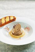 Rolled goose liver terrine on a pool of apple sauce with rose jelly and brioche