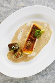 Zander in sardine sauce with stuffed cos lettuce