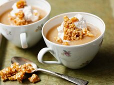 Stewed apple desserts with almond caramel and whipped cream