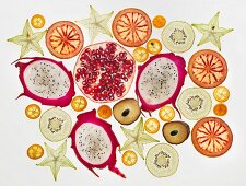 Various fruit slices (seen from above)