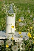 Milk bottle and flower arrangement
