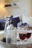 Soda dispenser, carafe and glass with red wine