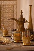 Arabian tea service on living room table