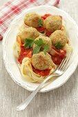 Tagliatelle with chickpea balls and tomato sauce