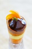 Chocolate dessert with vanilla creme and apricots
