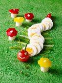 A caterpillar made of sliced egg
