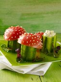 Toadstools: cucumber and egg salad topped with tomato halves