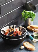 Zuppa di cozze (mussel soup with garlic bread, Italy)