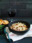 Minestra di orzo e funghi (barley soup with mushrooms)