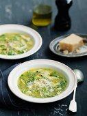 Zuppa ai maltagliati (soup with pasta and Parmesan, Italy)