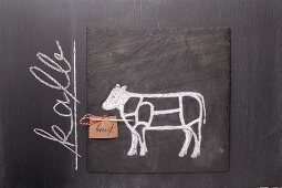 A sketch of a calf and a written label on a chalkboard