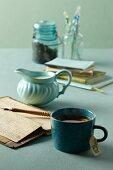Cup of Marijuana Tea; Old Journals and Creamer