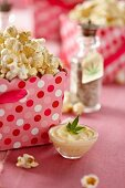 Popcorn in Pink Polk-a-Dot Container with Marijuana Infused Butter