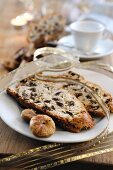Fruit bread made from rice flour with figs and nuts (Italy)
