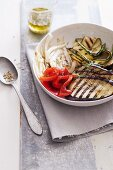 Grilled vegetables with herb oil