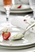 Lemon sorbet garnished with strawberries