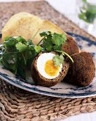 Scotch eggs with coriander and unleavened bread (India)