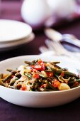 Green beans with onions and tomatoes
