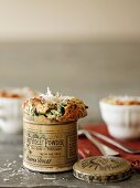 Spinach souffle with ham and Parmesan