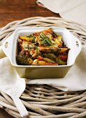 Roasted vegetables (potatoes, courgette) with rosemary