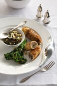 Chicken breasts filled with spinach and pancetta served with wild rice and tenderstem broccoli