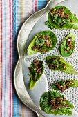 Pork and coriander on lettuce leaves