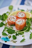 Salmon rolls with cream cheese for Easter