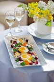 Boiled eggs with pickled vegetables for Easter