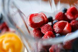 Frozen Berries in a Blender