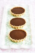 Chocolate and chestnut tartlets