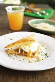 Mille feuille with poached egg and cheese