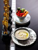 Vegetable batons with bean and anchovy dip