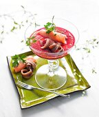 Beetroot gazpacho with anchovies and smoked salmon