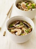 Two Bowls of Asian Shrimp and Noodle Soup