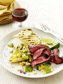 Southwestern Steak Salad with a Grilled Tortilla and Glass of Wine