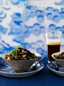 Black Rice Salad with Cashews; Glass of Beer