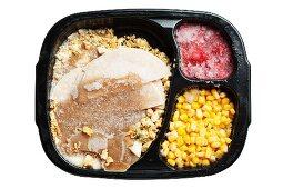 Frozen Turkey Dinner in Plastic Tray; White Background