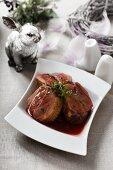 Duck in red wine sauce