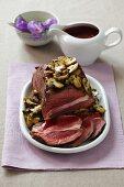 Roast beef with a mushroom crust