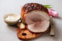 Sliced roast ham