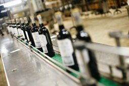 Wine Bottles Moving Down Conveyer at Marques de Riscal Winery in Rioja, Spain