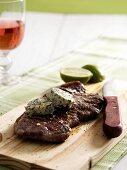 Rump steak with salsa verde butter