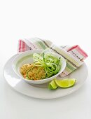 Quinoa salad with lime and tahini dressing and cucumber