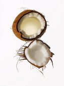 Coconut Broken Open on a White Background