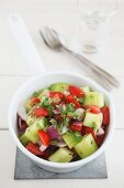 Chachumber (tomato, cucumber, onion and coriander salad, India)