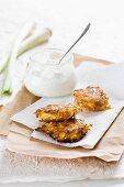 Spring onion and potato rösti with a yogurt dip