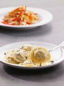 Prawn ravioli with herb butter